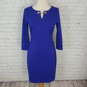 Ivanka Trump Blue Purple chain Sheath Dress 4